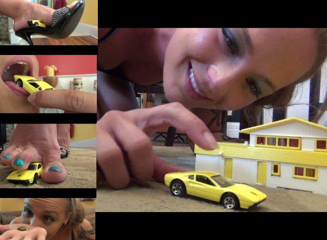 Giantess feet crush car