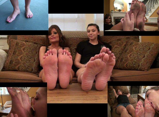 Licking my moms feet